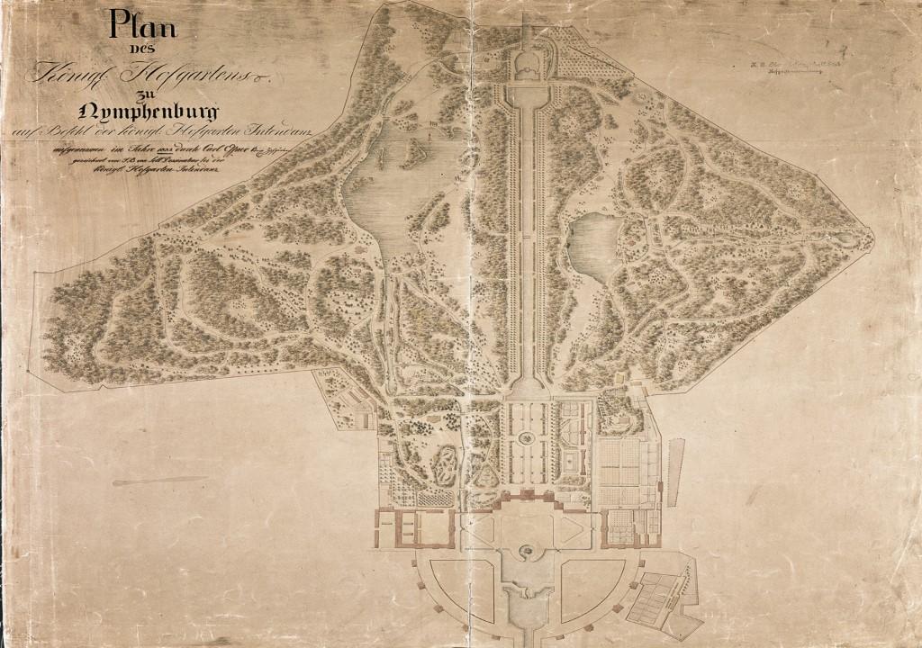 Plan des königlichen Hofgartens zu Nymphenburg aus dem Jahr 1832, aufgenommen von Carl Effner. Copyright: Bayerische Schlösserverwaltung